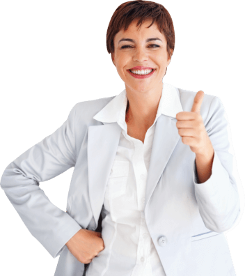 female business executive doing OK sign